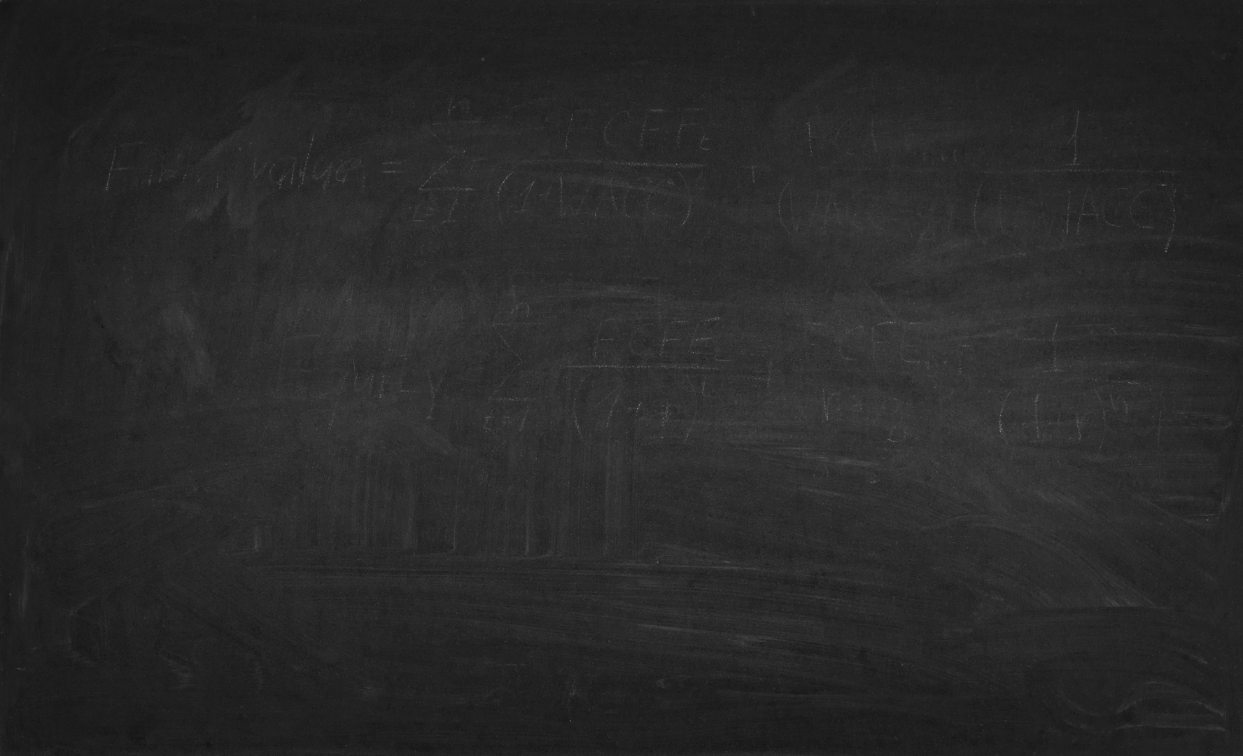 Unwashed black blackboard with textured remains of chalk